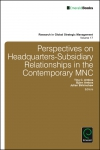 Jacket Image For: Perspectives on Headquarters-Subsidiary Relationships in the Contemporary MNC